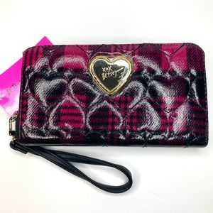 Betsey Johnson Sweet Plaid Zip Wallet